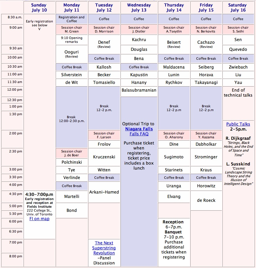[visual matrix of schedule of invited speakers]